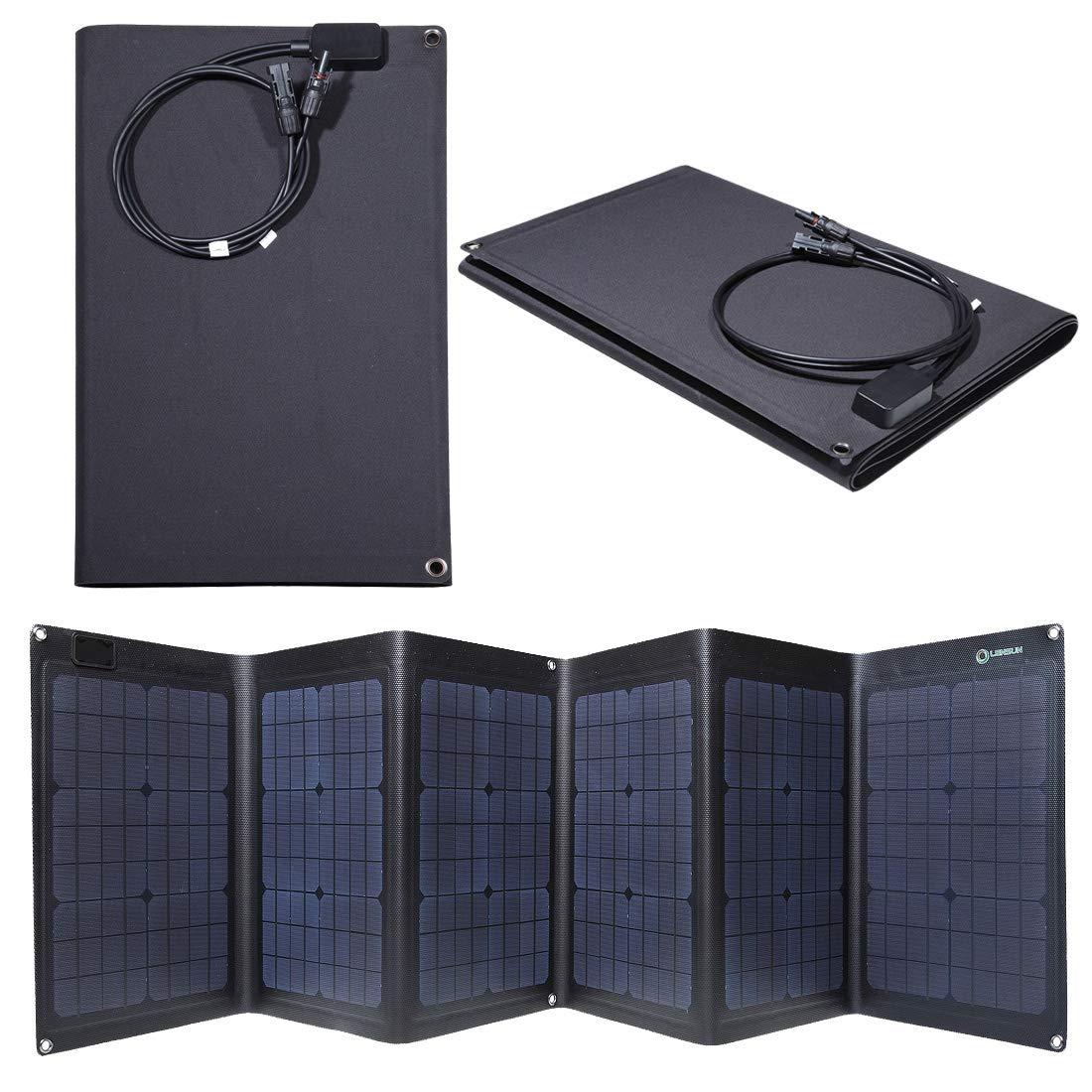 Lensun ETFE Coating 100W 18V Black Portable Folding Solar Charger Panel for 12V Batteries, Completely Waterproof, Best and Thinnest Foldable Solar Panel by Lensun