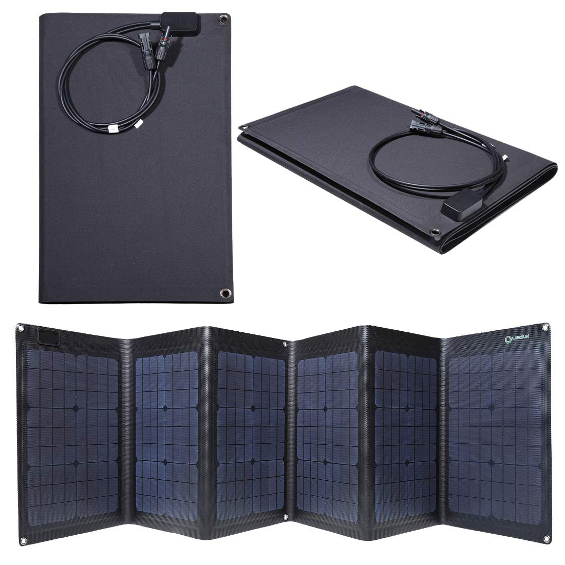 Lensun ETFE Coating 100W 18V Black Portable Folding Solar Charger Panel for 12V Batteries, Completely Waterproof, Best and Thinnest Foldable Solar Panel