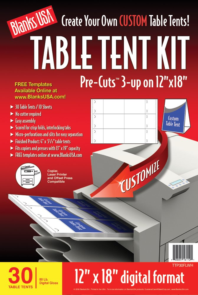 Amazoncom BlanksUSA PreCut Table Tent Kit TTPFLWH Printer - Create table tents