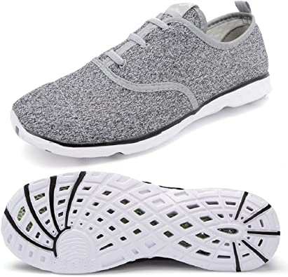 Men Water Shoes Lightweight Slip on Athletic Sneakers Breathable Mesh Quick Dry for Men 8.5 MUS Grey