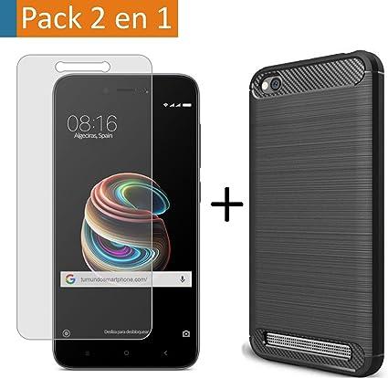Pack 2 En 1 Funda Gel Tipo Carbono + Protector Cristal Templado ...