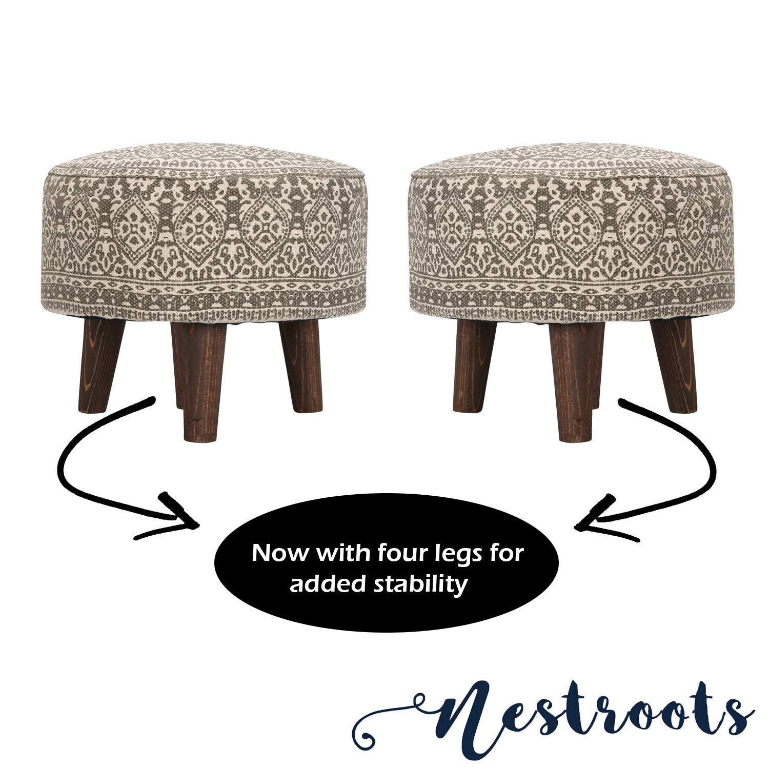 Nestroots Printed Ottoman Cushion Footrest Stool Pouf - 4