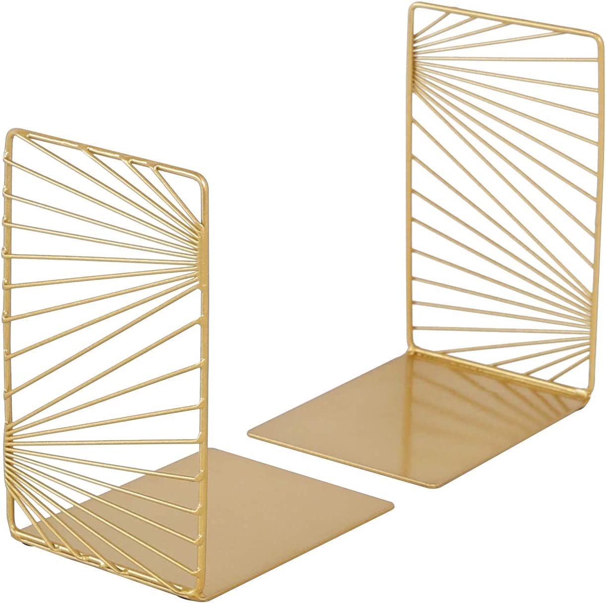 zennd. Gold Decorative Bookends - 2pc Modern Design Book Stopper Set   Metal Book Ends for Office, Book Ends for Home, Book Holders for Shelves (Gold)