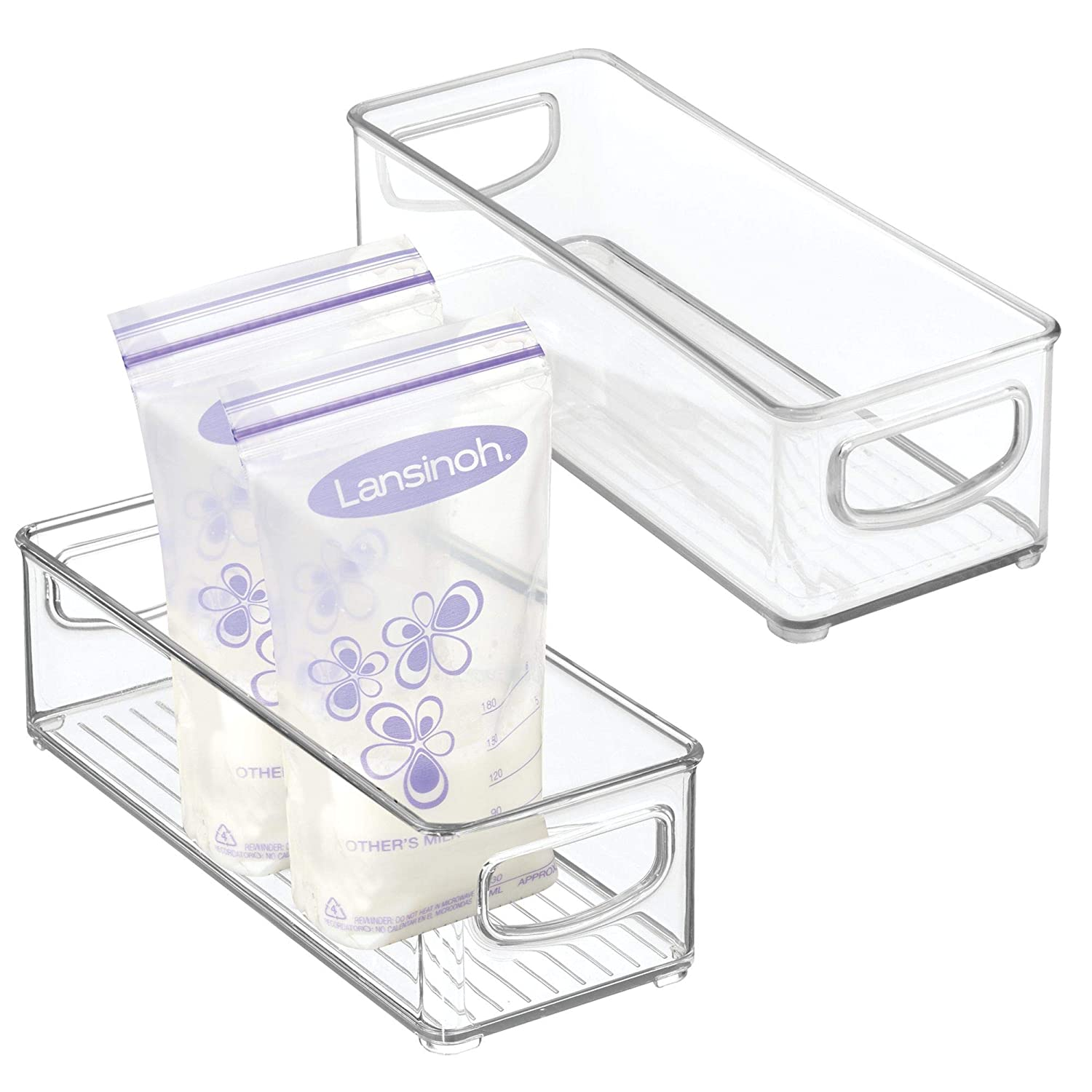 "mDesign Baby Food Kitchen Refrigerator Cabinet or Pantry Storage Organizer Bin with Handles for Breast Milk, Pouches, Jars, Bottles, Formula, Juice Boxes - BPA Free, 10"" x 4"" x 3"", 2 Pack - Clear"