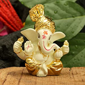CraftVatika Gold Plated Terracotta Pagdi Ganesha Statue for Car Dashboard God Ganpati Puja Gifts Idols Home Decor (Size 8 x 6 cm)
