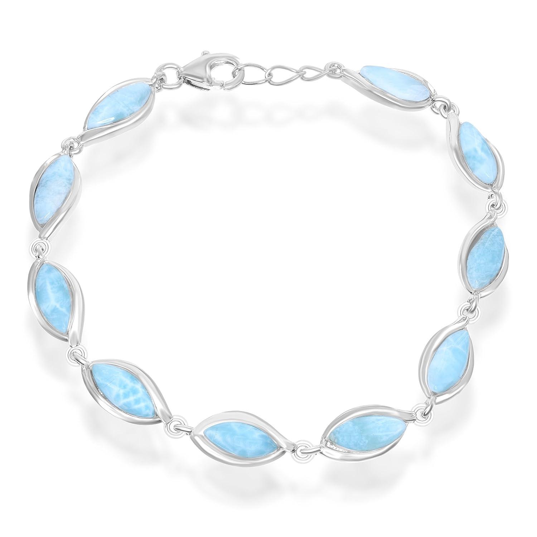 """Sterling Silver 7.5"""" Marquise Natural Larimar Link Bracelet"""