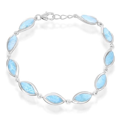 Sterling Silver 7.5 Marquise Natural Larimar Link Bracelet