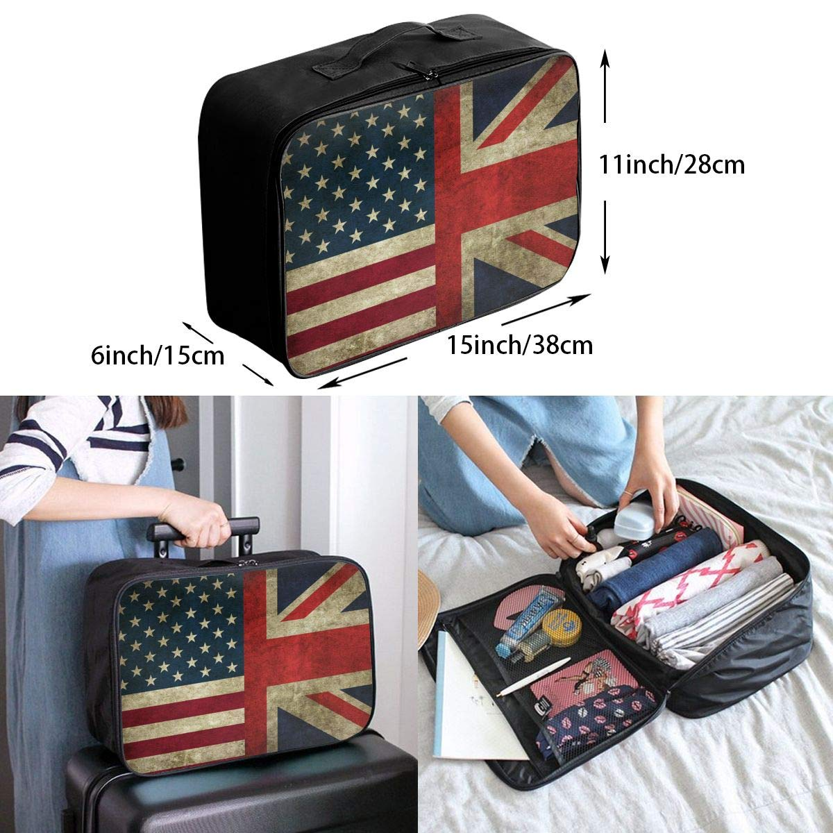 British Flag And American Flag Travel Fashion Lightweight Large Capacity Portable Waterproof Foldable Storage Carry Luggage Bag Luggage Duffle Tote Bag Hanging Travel Toiletry Bag Travel Makeup Bag