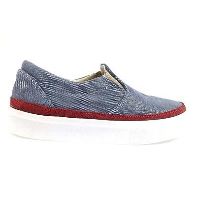2 STAR Loafer / Moccasins Blue Burgundy Textile Suede AP715 (11 US / 41 EU)