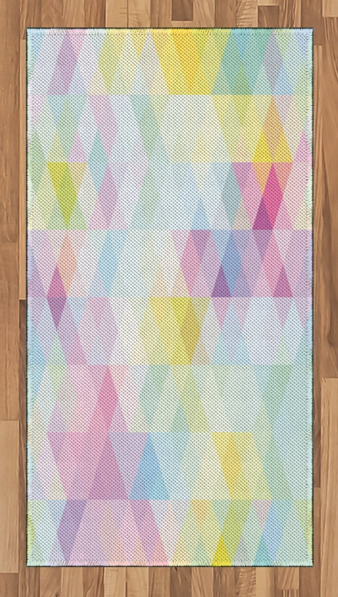 Ambesonne Abstract Area Rug, Geometrical Vibrant Rainbow Themed Pastel Colored Rhombus Pattern Hipster Style, Flat Woven Accent Rug for Living Room Bedroom Dining Room, 2.6 x 5 FT, Multicolor