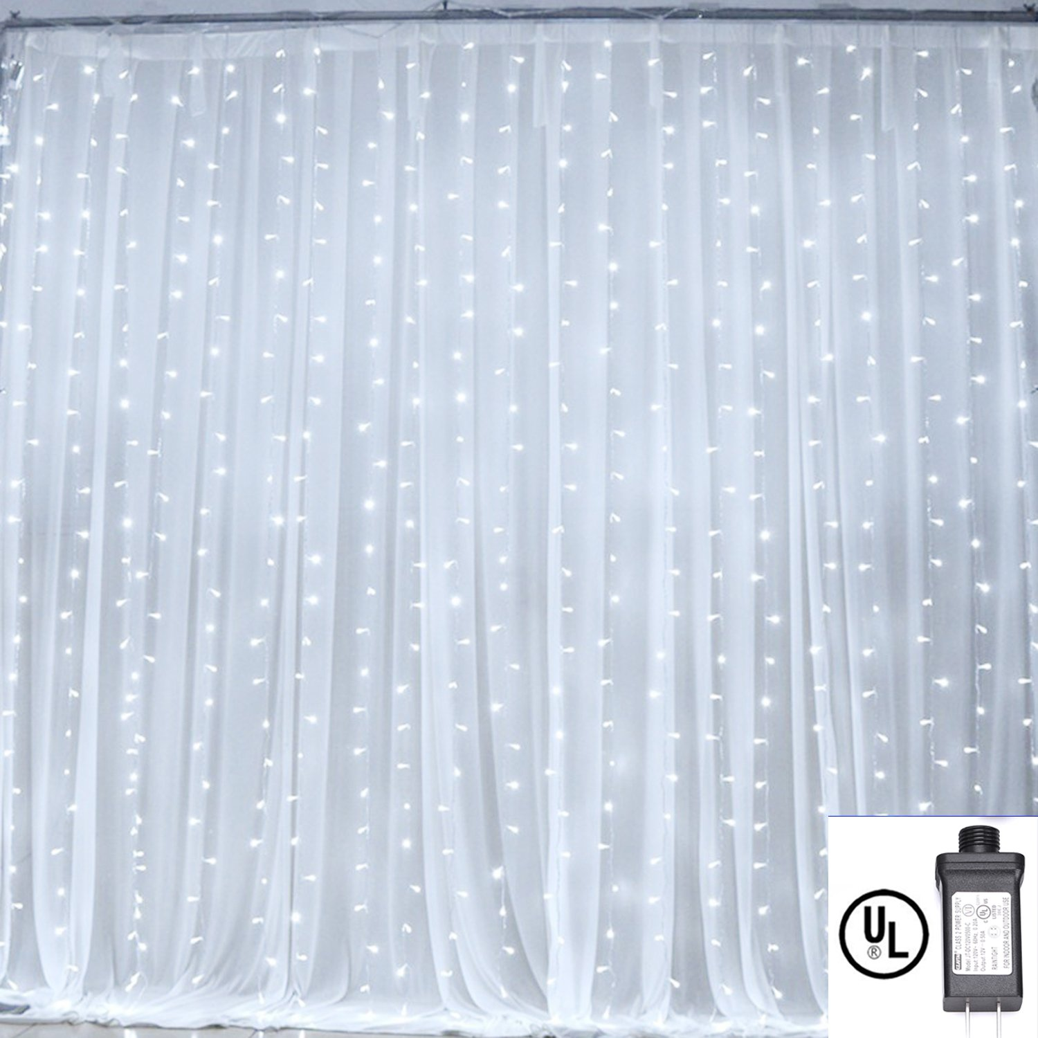 Curtain Lights,Bienna 3M x 3M /10 ft x 10 ft 304 LED UL Listed Plug In Icicle Twinkle Fairy String Lighting [Waterproof] [8 Modes] for Christmas Window Weddings Bedroom Indoor Outdoor Home Party-Cool