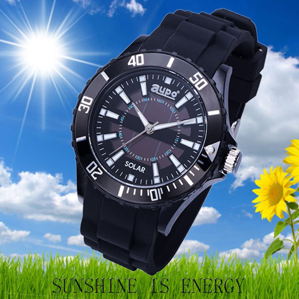 Amazon.com: AUPO Quartz Watches, Roman Digital Casual Fashion Solar Analog Watch Waterproof 30m Waterproof Comfort Silicone Watch(black): Watches