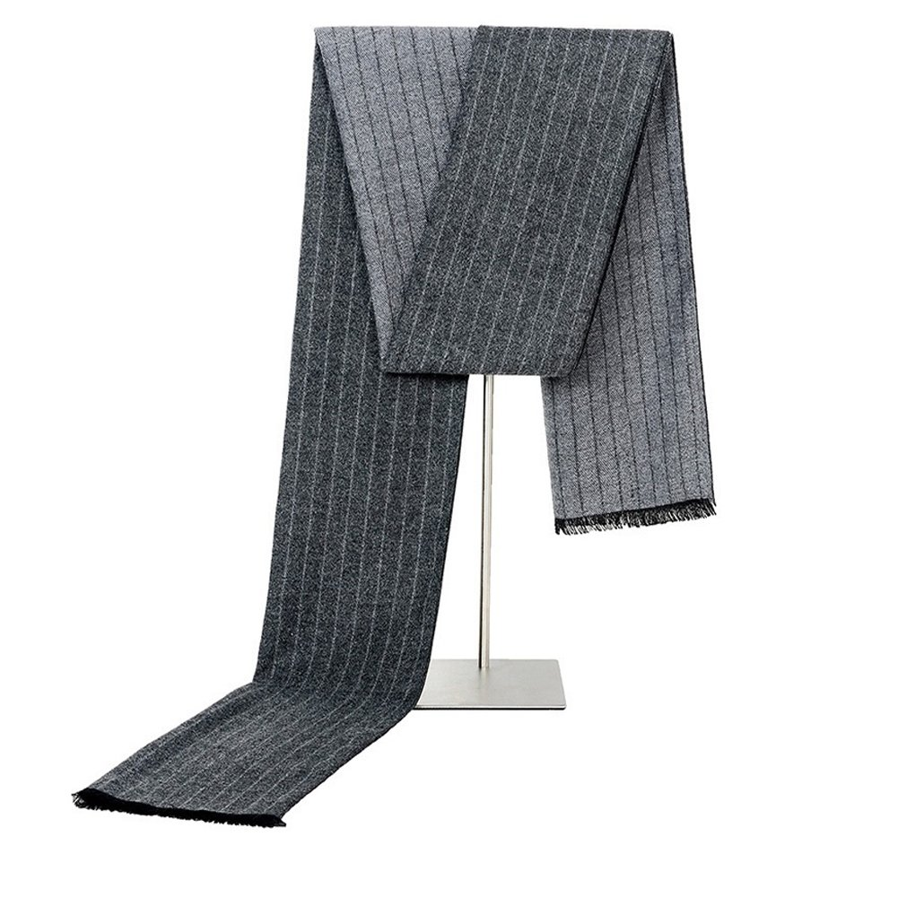 Mens Classic Long Fringe Striped Scarf Fashion Gentleman Business Scarves (Grey)