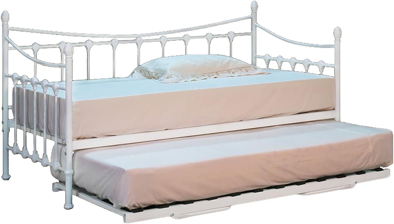 Cama individual de 90 cm de metal en color blanco con cama inferior y dos colchones baratos incluidos