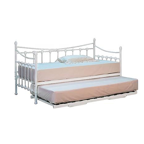 Cama individual de 90 cm de metal en color blanco con cama inferior y dos colchones