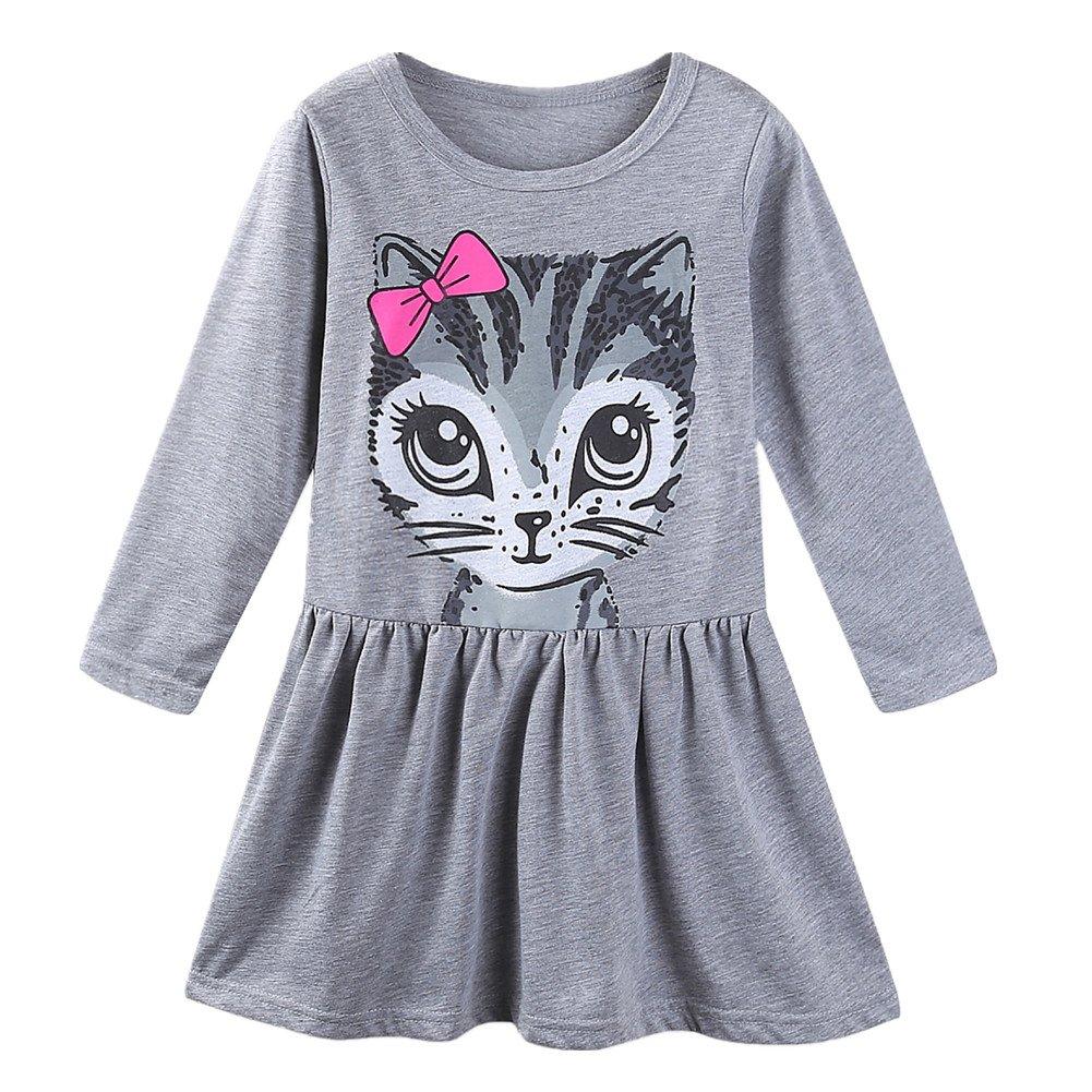 LittleSpring Little Girls' Dresses Summer Cat Printing Size 4T A-Grey