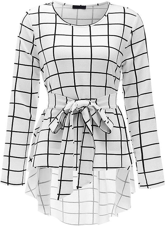 Women's Raw Hem Belted Flare Peplum Blouse Shirts Top