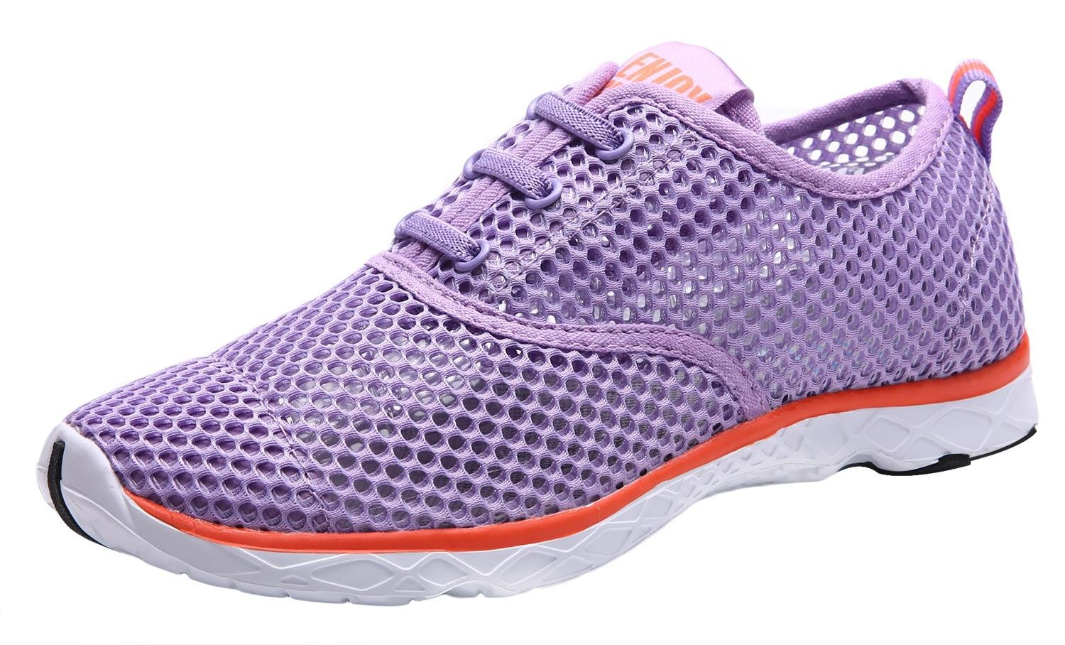 CAIHEE Women's Mesh Lightweight Quick-Dry Aqua Slip On Water Shoes B072HHYWT3 5.5 B(M) US|Light Purple