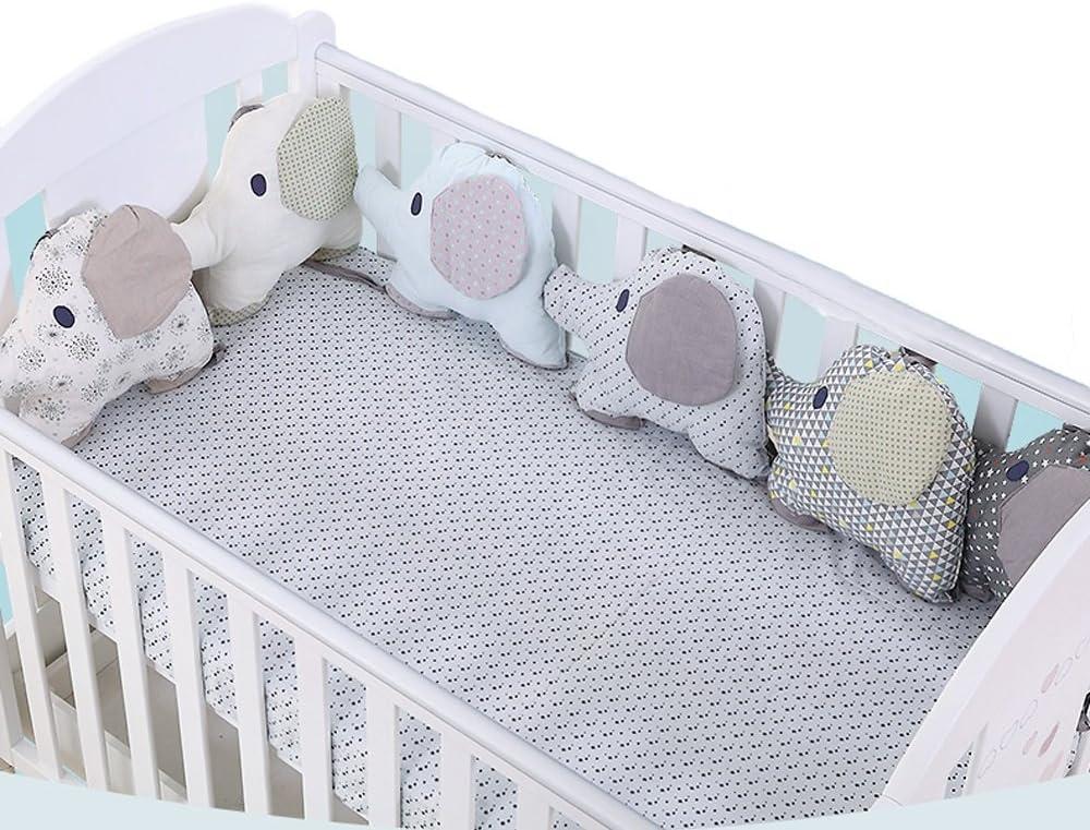 Cuna parachoques, Almohadas de cama de elefante antialérgico para hombres y mujeres Bebé puede ser engrosada Cama Combinación de protección anticolisión libre 120 * 60 cm / 120 * 65 cm / 130 * 70 cm /