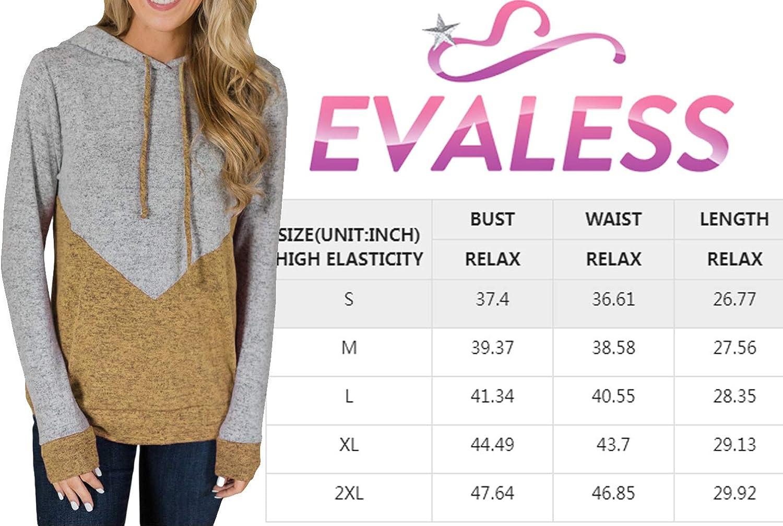 EVALESS Femmes Pulls et Hoodies Manches Longues Cordon de serrage Pulls Blocs de Couleur Rayé Pull Tops Z-rouge.