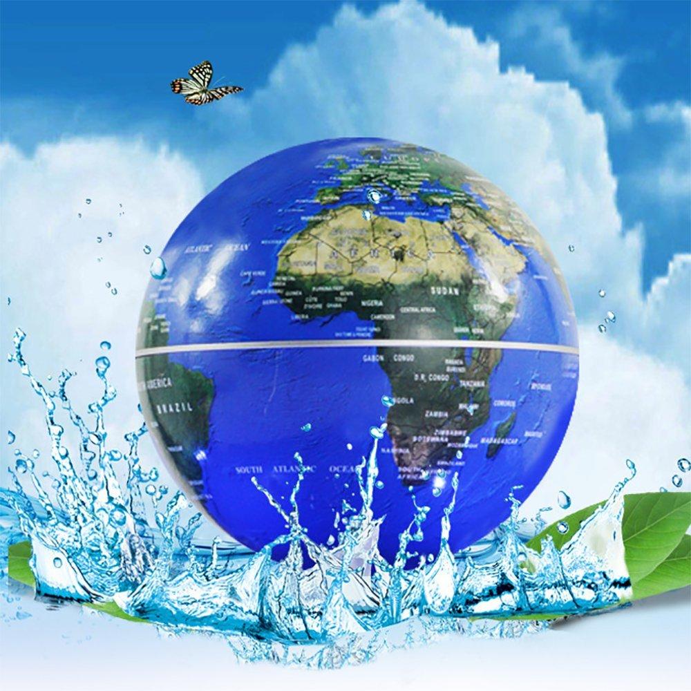 Floating Globe mit LED-Leuchten Magnetschwebebahn Floating Globe mit Power Button Weltkarte Für Schreibtisch Dekoration Kids Educational Globe,Blau