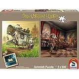 Schmidt Spiele 59601 - Das Unkrautland, Quadratpuzzles, Die Koboldfrau und Der Narr, 2 x 500 Teile