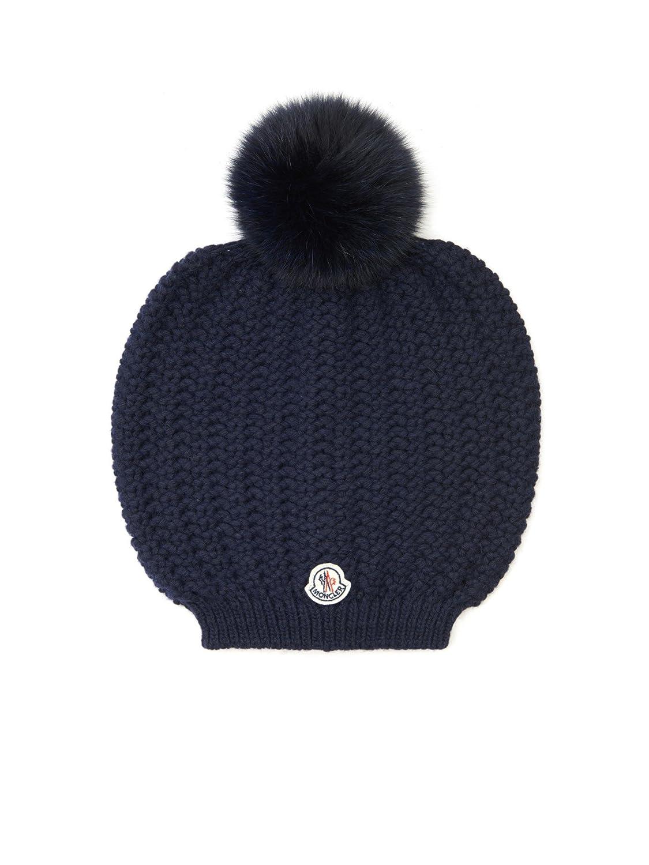 bc4e5b67e Moncler Woman's Blue Knit Pom Pom Beanie Hat at Amazon Women's ...