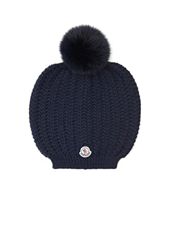 Moncler Woman s Blue Knit Pom Pom Beanie Hat at Amazon Women s ... f6ffc6bc06c