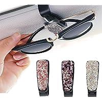2 Pack Bling Crystal Car Glasses Holder,Glasses Holder for Car Visor with Double-Ended Ticket Clip Holder Accessories