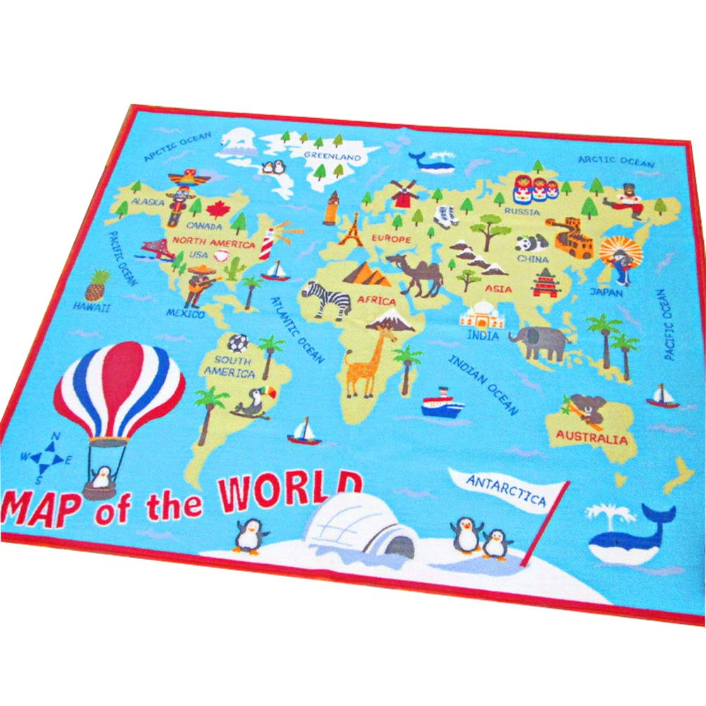 HEBE Kids Rug World Map Educational Children's Play Mat Learning Carpet for Playroom Bedroom Non Skid Washable Nursery Crawling Rug 3.3'x4.9' Extra Large