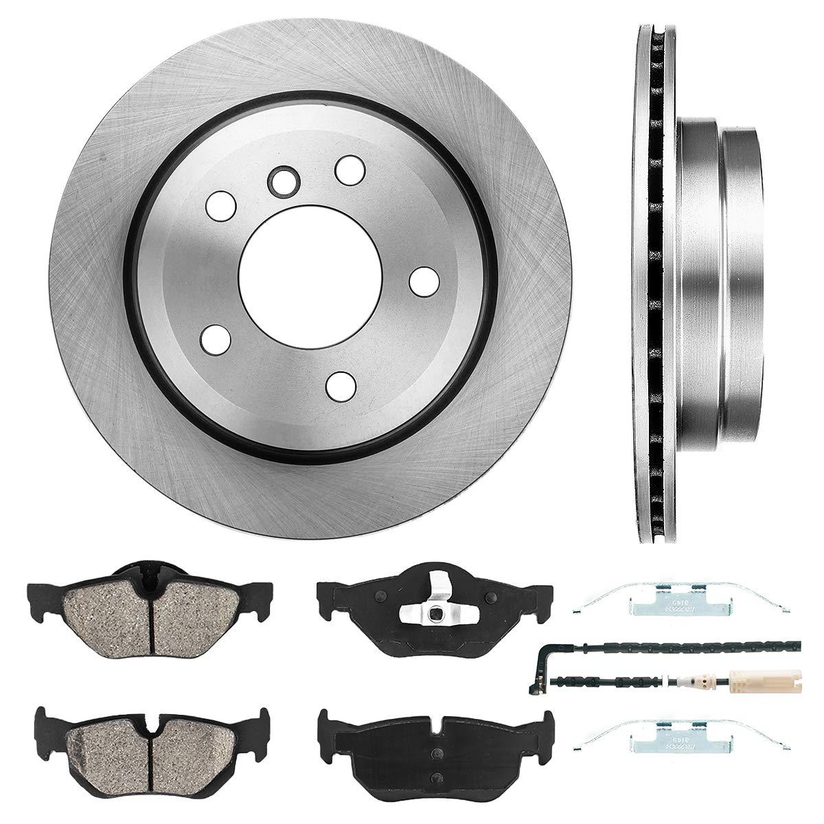 [ E90 ] REAR 299.8 mm Premium OE 5 Lug [2] Brake Disc Rotors + [4] Ceramic Brake Pads + Sensors + Hardware CRK11067