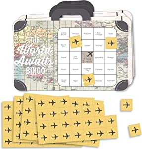 Big Dot of Happiness World Awaits - Bingo Cards and Markers - Travel Themed Party Shaped Bingo Game - Set of 18