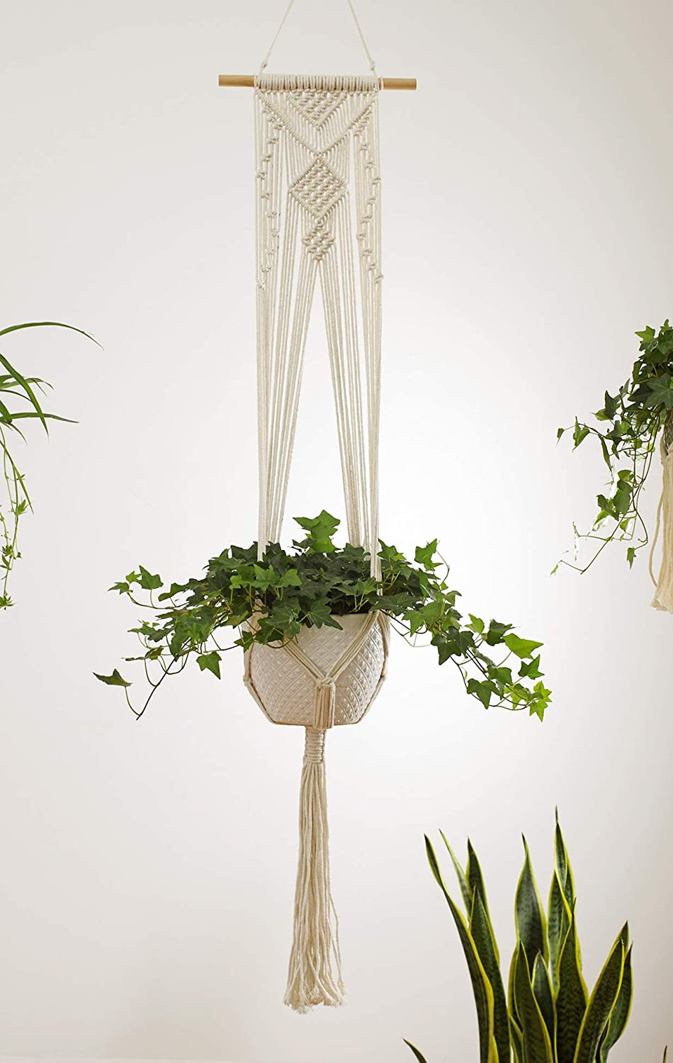 4-Piece Macrame Plant Hangers – Wall Hanging Flower Planter Pot Holder for Indoor House Plants, Modern Boho Bohemian Home Decor