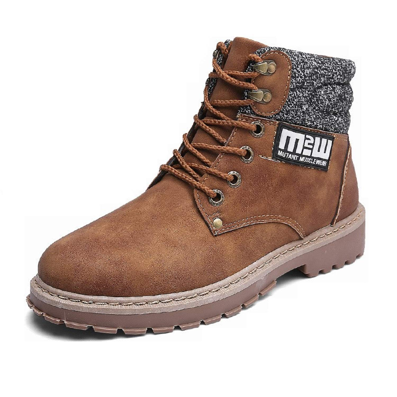 TQGOLD Mens High Top Waterproof Hiking Boots Fashion Ankle Work Boots Casual Lace up(Size 42,Brown)