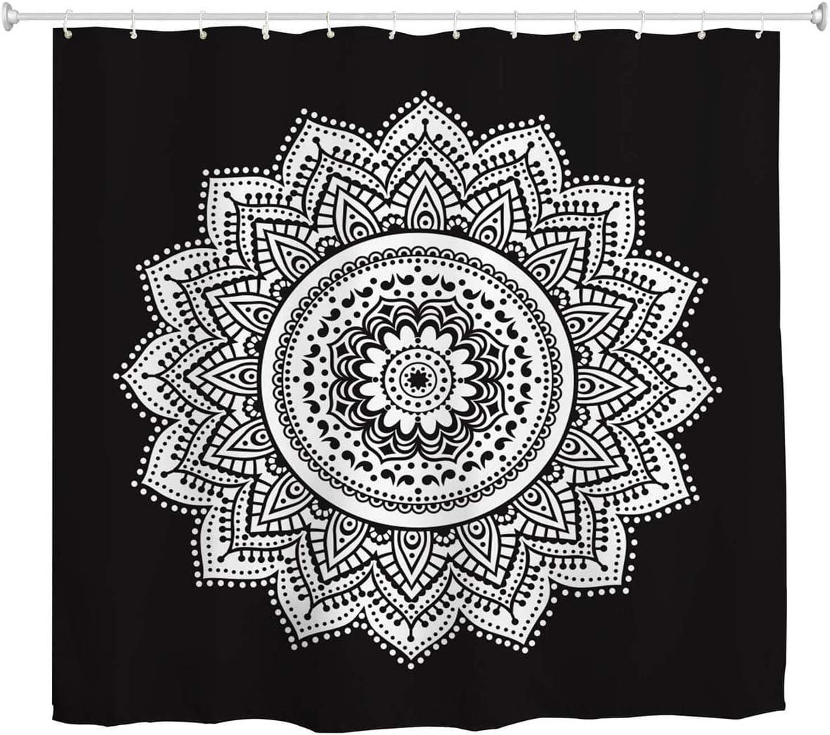 Amazon Com Black And White Mandala Shower Curtain Ethnic Retro Bohemian Paisley Floral Pattern Bath Curtain Boho Waterproof Fabric Bathroom Decor Set With Hooks 72 Inch Long Kitchen Dining