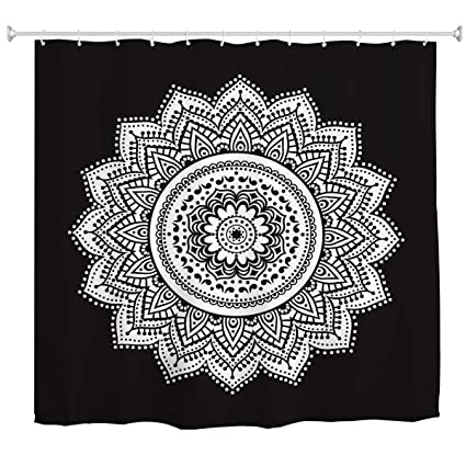 Black And White Mandala Shower CurtainBoho Ethnic Retro Bohemian Flower Pattern Art