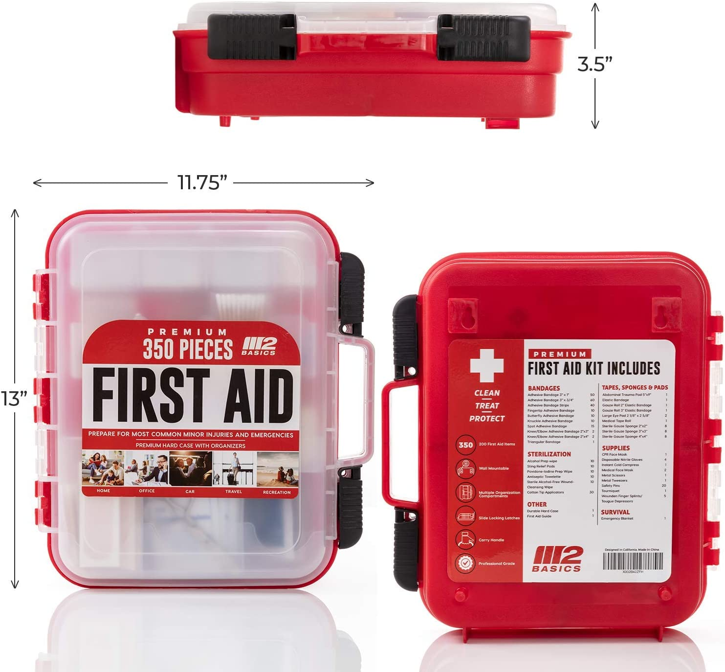 M2 BASICS 350 Piece Professional First Aid Kit | Mountable Hard Case with Dual-Layer Organizers for Business, School or Home: Health & Personal Care