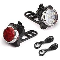 Rantizon Luci per Bicicletta Luci LED per Bici USB Impermeabili con Ricaricabile 650mAh, con 4 modalità di Lampeggiamento, Compatibile con Montagna, Strada, Bambini e Biciclette da Città