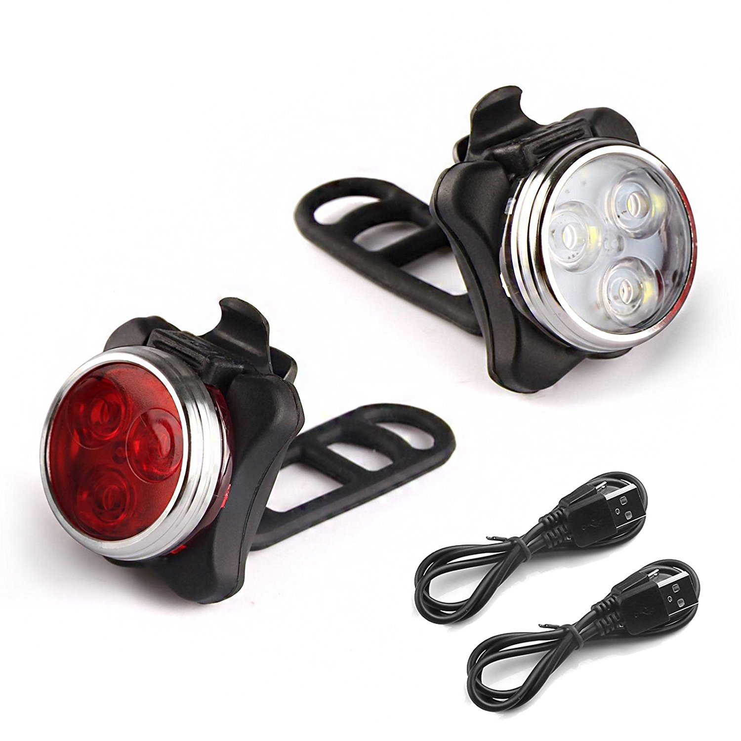 Rantizon Bike Light Set Bright LED Bicycle Lights Set Front and Rear, 4 Light Mode Options, 650mah Lithium Battery, USB Rechargeable and Fits All Bikes for Cycling, Hiking, Camping, Outdoors