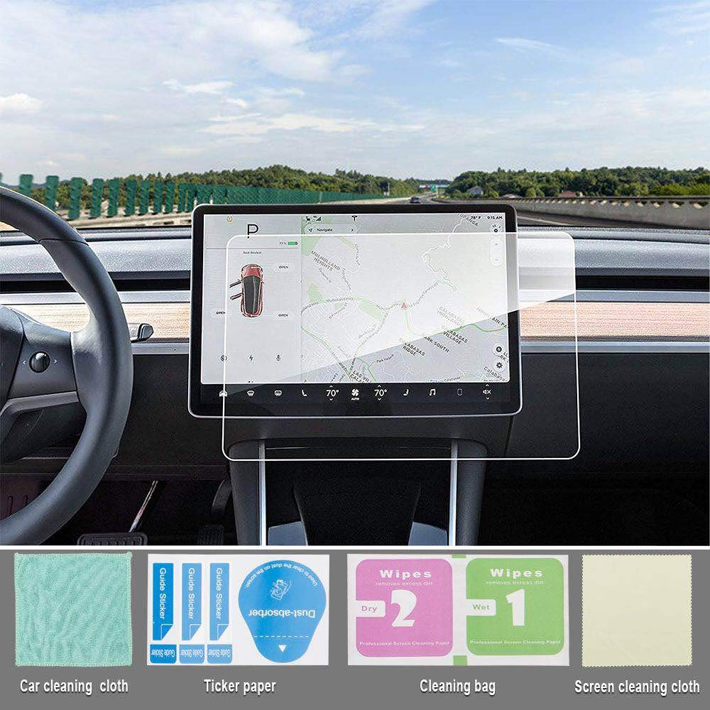 TOPlight Model 3 Screen Protector Model 3 15 Center Control Touchscreen Car Navigation Touch Screen Protector Tempered Glass 9H Anti-Scratch and Shock Resistant Touch Screen Protector for Model 3