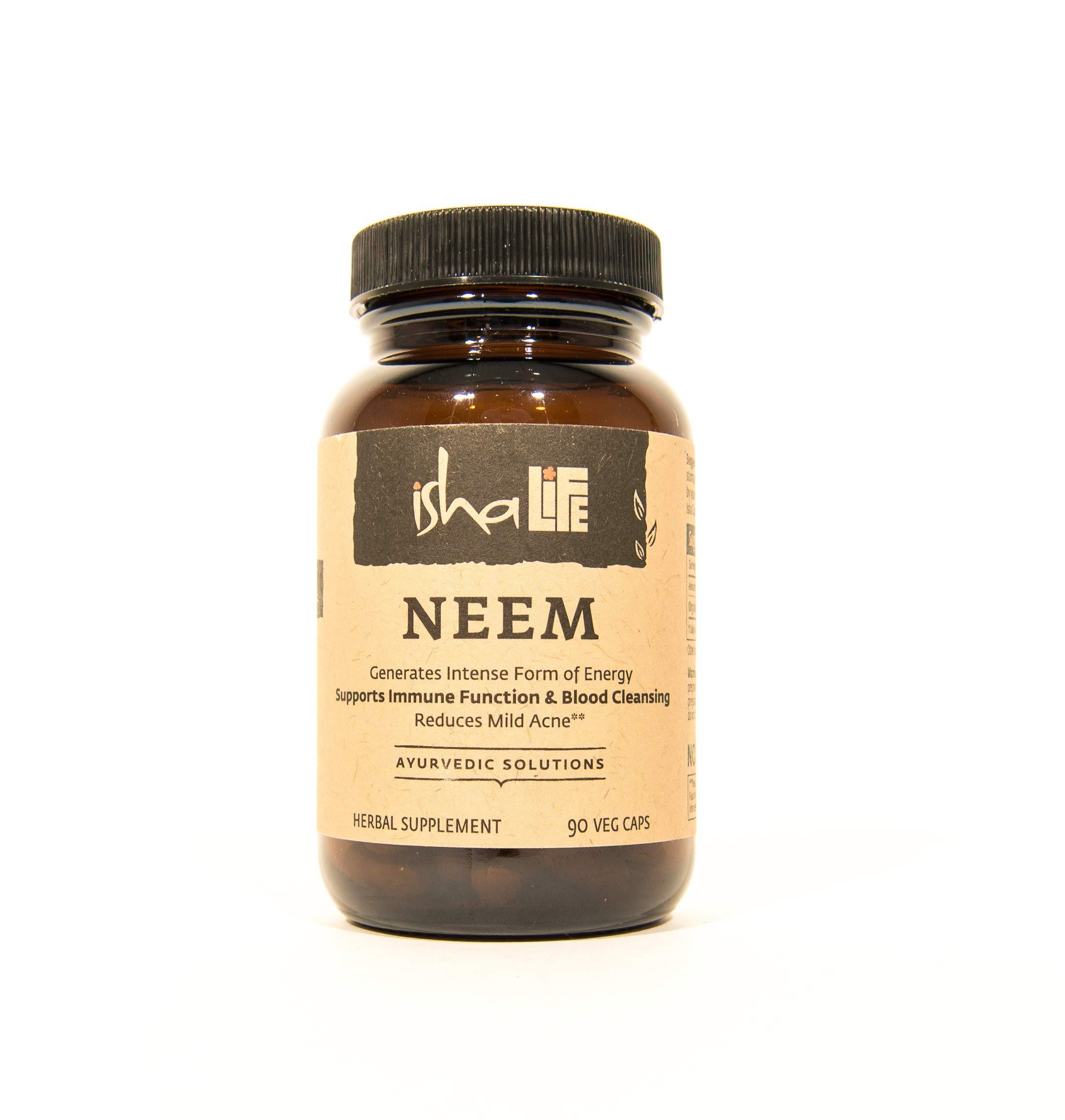 Isha Organic Neem Supplement — Natural Ayurvedic Herbal Cleanser and Purifier: Boosts Immunity - 90 Vegetarian Capsules, 950 mg Each