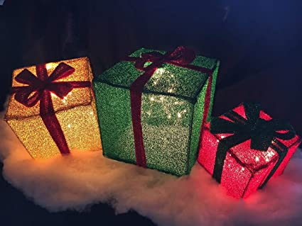 Lighted Christmas Boxes Decoration.Tisyourseason 3pc Lighted Tinsel Boxes Presents Outdoor Christmas Decor