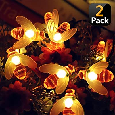 KANYEE Solar Honeybee String Lights Waterproof Fairy Lights Outdoor Garden Patio Fence Lawn Flower Trees Balcony Party DIY Decor Landscape Lighting, 20ft 30 LED Warm White, 2 Pack : Garden & Outdoor