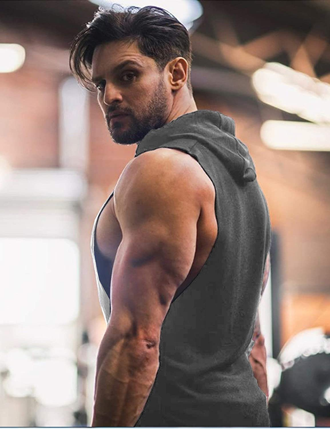 COOFANDY Mens Tank Tops Shirts Hooded Vest Sleeveless Muscle Bodybuilding Gym Hoodie with Pocket Workout Sports