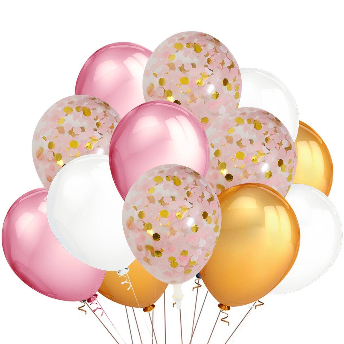 teepollyパーティーバルーン、30パックゴールド&ピンク&ホワイト色ラテックスバルーンと12パックゴールド&ピンク&ホワイト色紙吹雪balloons-bachelorette/ウェディング/ベビーシャワー/誕生日装飾   B07F1H69G3