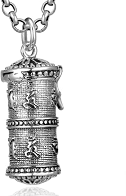 KnSam Mens Sterling Silver Necklace with Pendant Vintage Retro Chain Buddha with Scripture Silver