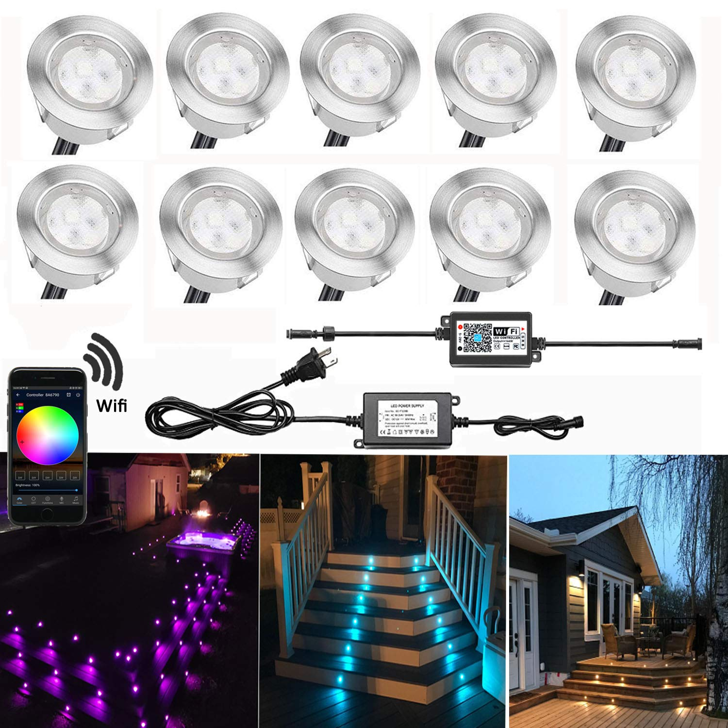 QACA Smart LED Deck Lights Kit WiFi Controlled Color Changeable, Φ1.38'' Outdoor IP67 Waterproof Low Voltage Step Lights In-Ground Lighting Kit, Works with Samrt Phone, Alexa and Google Home,10 Pack