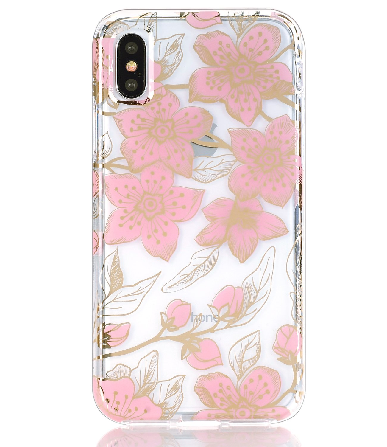 BAISRKE iPhone Xs Case Hard PC Back Soft TPU Bumper Raised Edge Drop Protection Cover for Apple iPhone X//iPhone Xs 5.8 iPhone X Case Clear with Shiny Gold Marble Fusion