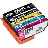 Kingway Epson 33 33XL Ink Cartridges Compatible with Epson Expression Premium XP-530 XP-630 XP-635 XP-640 XP-645 XP-540 XP-830 XP-900 printer- Black/Photoblack/Cyan/Magenta/Yellow High Capacity