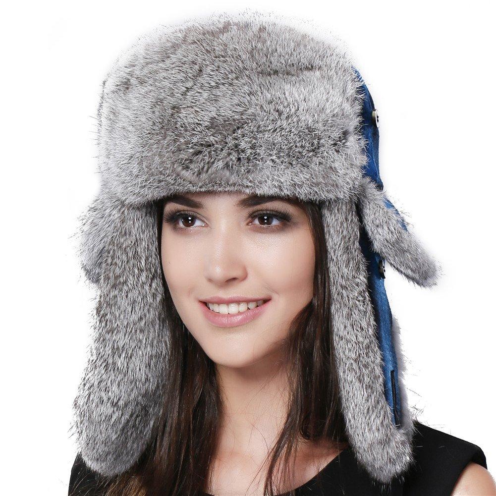 b4559564bd7 FURTALK Winter Trapper Fur Hat for Women Natural Rabbit Fur Trim Hunting Russian  Hats Designed Blue at Amazon Women s Clothing store